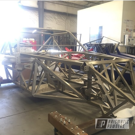 Powder Coating: Automotive,Powder Coat,Clear Vision PPS-2974,Clear Coat,Powder Coated Race Car Chassis,chassis,Glossy,STARNIGHT SILVER PMB-5752