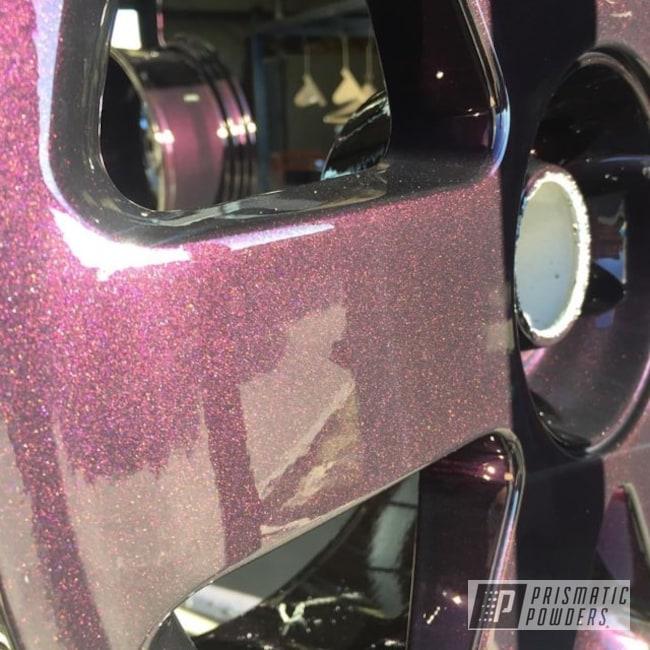 Powder Coating: Wheels,Automotive,Clear Vision PPS-2974,Custom Wheels,Lazer Kranberry PMB-4198,sparkle,Glossy,Powder Coated Wheels