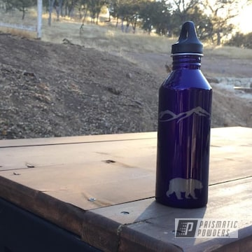Custom Water Bottle Coated In Illusion Purple And Clear Vision