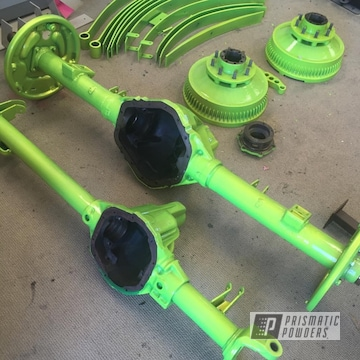Custom Axle Parts done in Shocker Yellow and Super Chrome