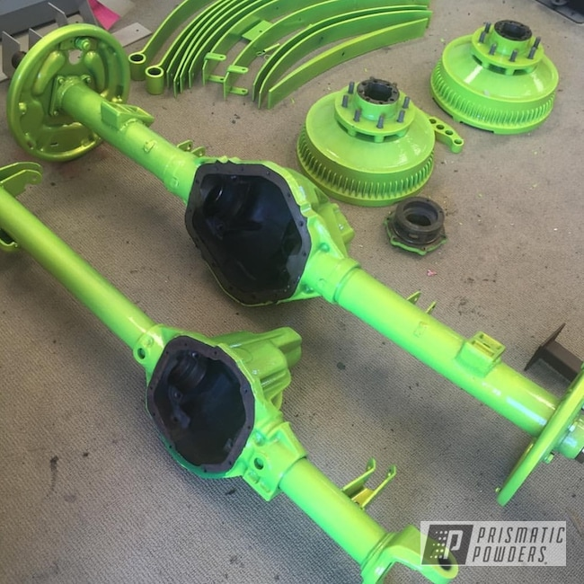 Powder Coating: Automotive,SUPER CHROME USS-4482,Axle Parts,Custom Axles,Axle Housing,Powder Coated Axles,Shocker Yellow PPS-4765