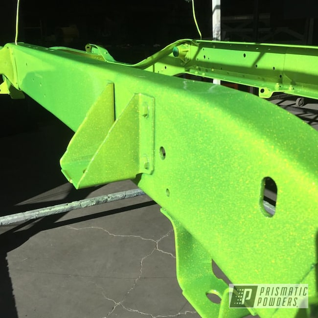 Powder Coating: Silver Sparkle PPB-4727,Truck Chassis,chassis,Custom truck frame,Frame,Shocker Yellow PPS-4765