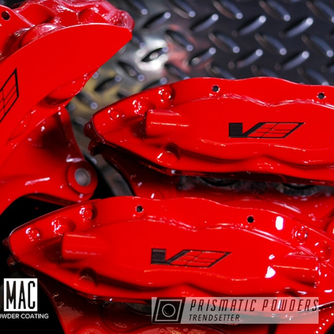 Cadillac Cts-v Brake Calipers In A Very Red Powder Coat