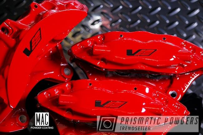 Powder Coating: Cadillac CTS-V,CTS-V Brembo Brake System,Very Red PSS-4971,Brembo Brakes,Brembo Brake Calipers,Powder Coated Brembo Brakes