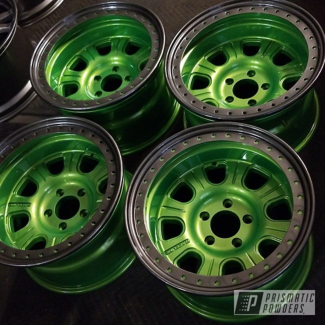 Powder Coating: Wheels,Automotive,Illusion Lime Time PMB-6918,Clear Vision PPS-2974,Kingsport Grey PMB-5027,Jeep,Jeep Wheels powder coated,Jeep Wheels