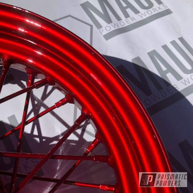 Powder Coating: Wheels,Spoked Wheels,LOLLYPOP RED UPS-1506,Rims,cam covers,Red,Two Coat Application,Motorcycles,Chrome Base Coat,Spoked Rims,Spoked