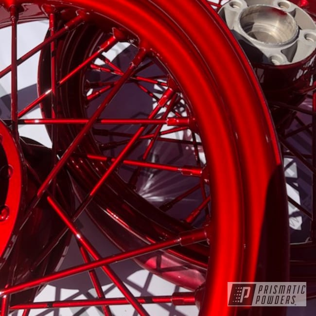 Powder Coating: Wheels,Spoked Wheels,Rims,cam covers,red,Two Coat Application,motorcycle,Lollypop Red UPS-1506,Chrome Base Coat,Motorcycles,Spoked Rims,Spoked