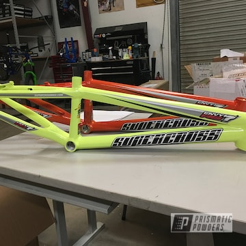 Custom Supercross Bmx Os20 Frame Coated In A Neon Yellow Powder Coat