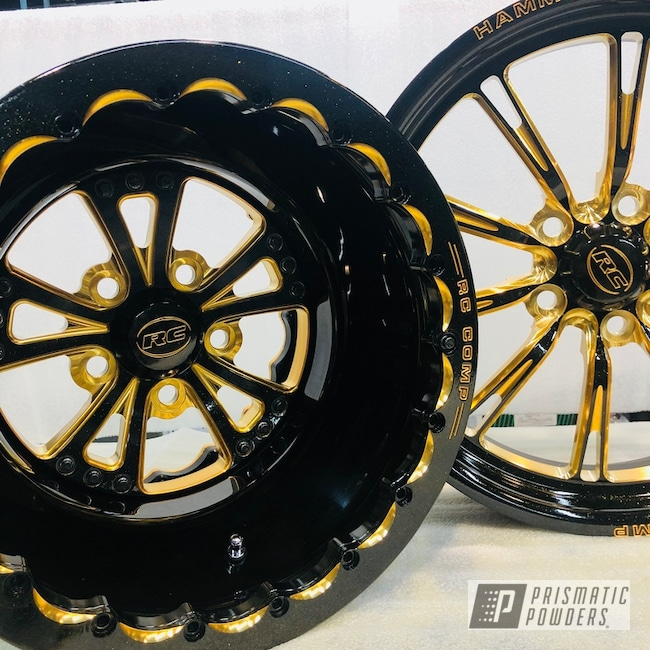 Custom Rc Components Motorcycle Wheels Accented In A Gold Sparkle Powder Coat