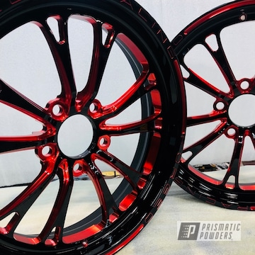 Weld Wheels In A Lollypop Red Accent Finish