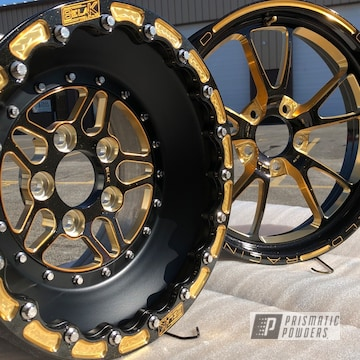 Racing Wheels Coated In A Gold Sparkle Powder Coat
