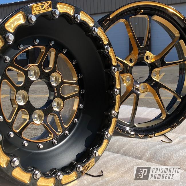 Powder Coating: Wheels,Automotive,Gold Sparkle PPB-4499,Racing,Belak Wheels,WELD Wheels