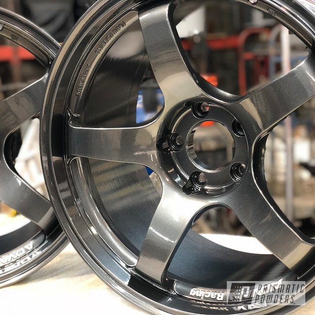 Powder Coating: Wheels,Advan Wheels,Automotive,Clear Vision PPS-2974,Soft Misty Black PMB-4254