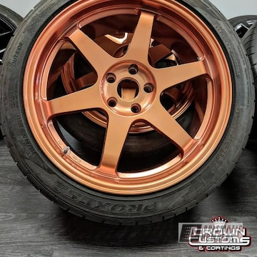Aftermarket Wheels For A 370z Refinished In Illusion Rose Gold And Clear Vision
