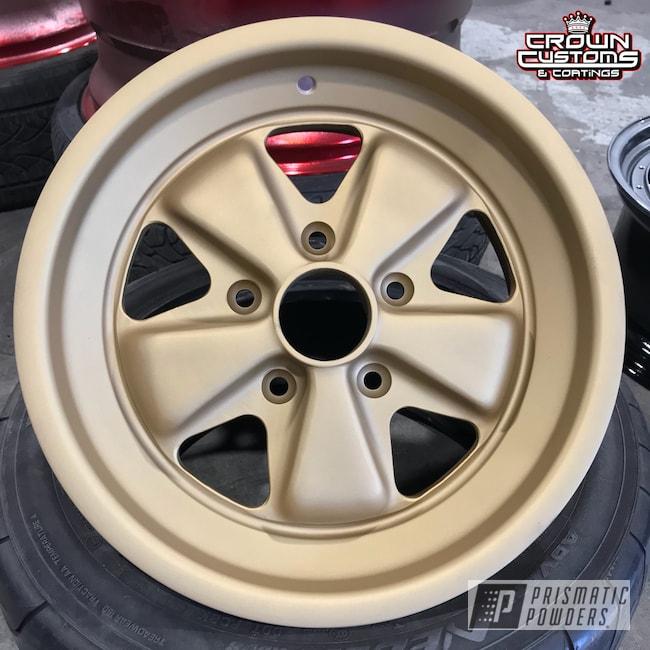 Powder Coating: Wheels,Automotive,Porsche Wheels,Porsche,Satin Poly Gold PMB-6487,Casper Clear PPS-4005