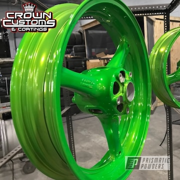 Kawasaki Zx-10 Wheels Done In Lollypop Lime With A Super Chrome Base