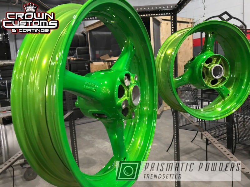 Powder Coating: Wheels,Kawasaki,Powder Coated Kawasaki Wheel,SUPER CHROME USS-4482,Kawasaki Motorcycle,Super Chrome Base Coat,Powder Coated Kawasaki ZX-10 Wheel,Motorcycles,Lollypop Lime PPS-5628