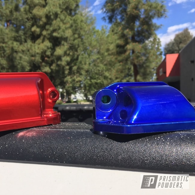 Powder Coating: SUPER CHROME USS-4482,Custom Engine Parts,LOLLYPOP BLUE UPS-2502,Diesel,Two Coat Application,Rancher Red PPB-6415,Duramax