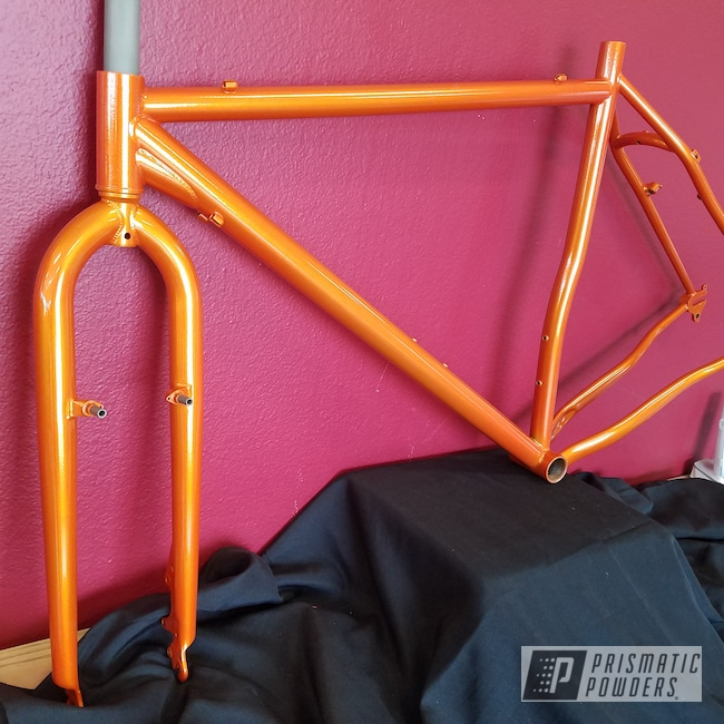 Powder Coating: Bicycles,Clear Vision PPS-2974,Two Stage Application,Custom Bicycle Frame,Bicycle Frame,Illusion Orange PMS-4620