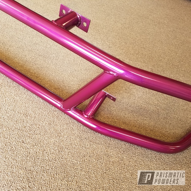 Powder Coating: Automotive,Powder Coated Race Car Chassis & Bumpers,SUPER CHROME USS-4482,Two Stage Application,ANODIZED GRAPE UPB-1510,Bumper