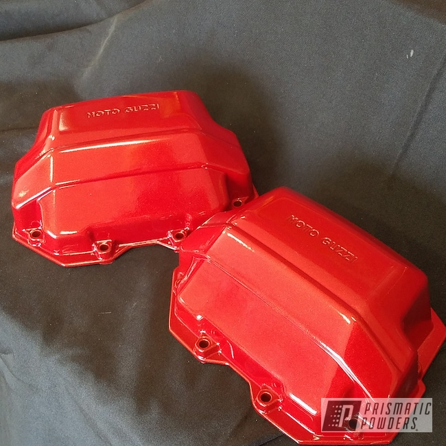 Powder Coating: Clear Vision PPS-2974,Two Stage Application,Motorcycle Parts,Illusion Red PMS-4515,Moto Guzi,Motorcycles,Powder Coated Valve Cover