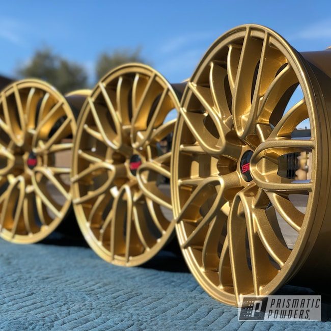 Powder Coating: Wheels,Automotive,Clear Vision PPS-2974,Spanish Gold EMS-0940