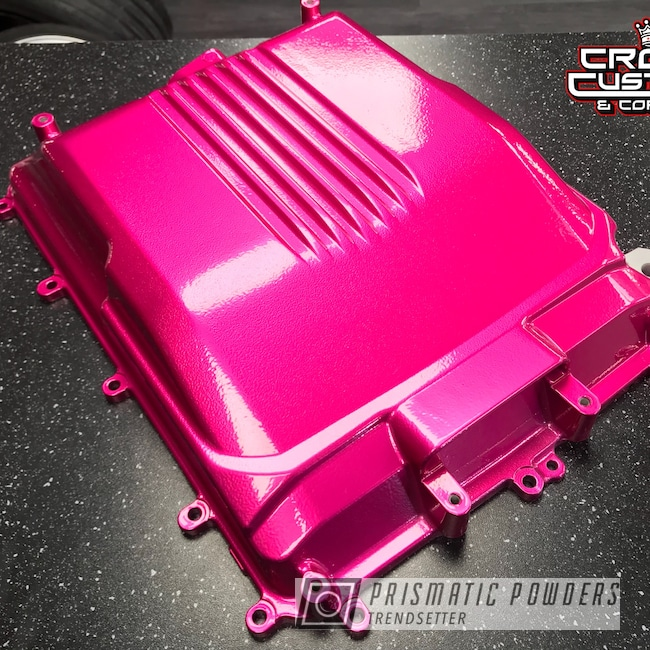 Powder Coating: Automotive,Clear Vision PPS-2974,Supercharger Lid,Cadillac CTS-V,Illusion Pink PMB-10046,Cadillac,Supercharger