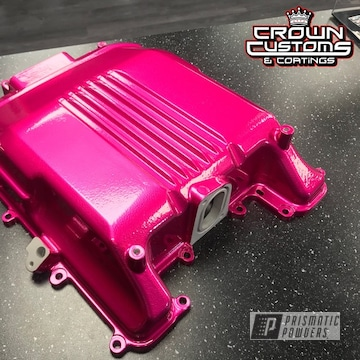 Cadillac Cts-v Supercharger Lid Refinished In Illusion Pink With Clear Vision Top Coat