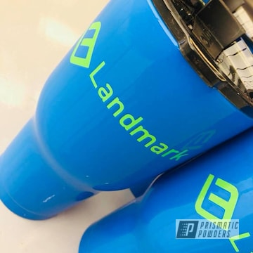 Custom Coated Tumbler Cups In Playboy Blue And Energy Green Powder Coat