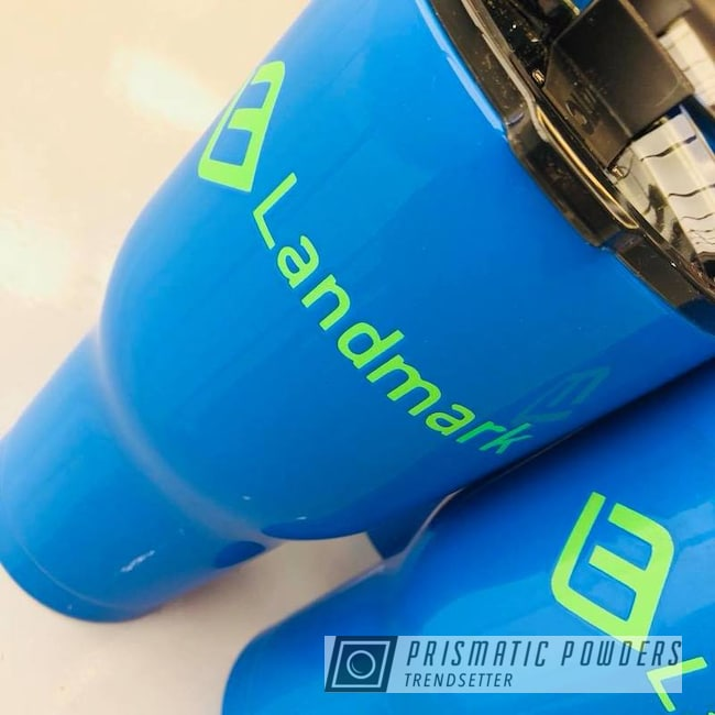 Custom Coated Tumbler Cups In Playboy Blue And Energy Green Powder Coat