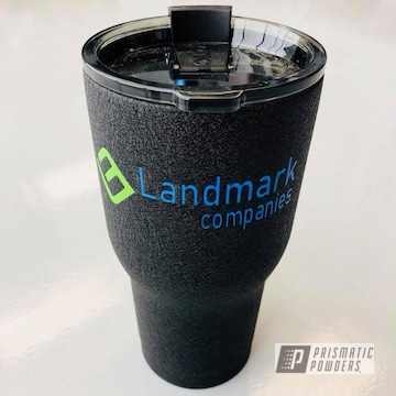 Textured Tumbler Cup In Splatter Black, Playboy Blue And Energy Green Powder Coat