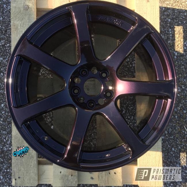 Powder Coating: Wheels,Automotive,Evo Wheels,Lazer Burgundy PMB-4155,Works,Custom Wheels,5x114