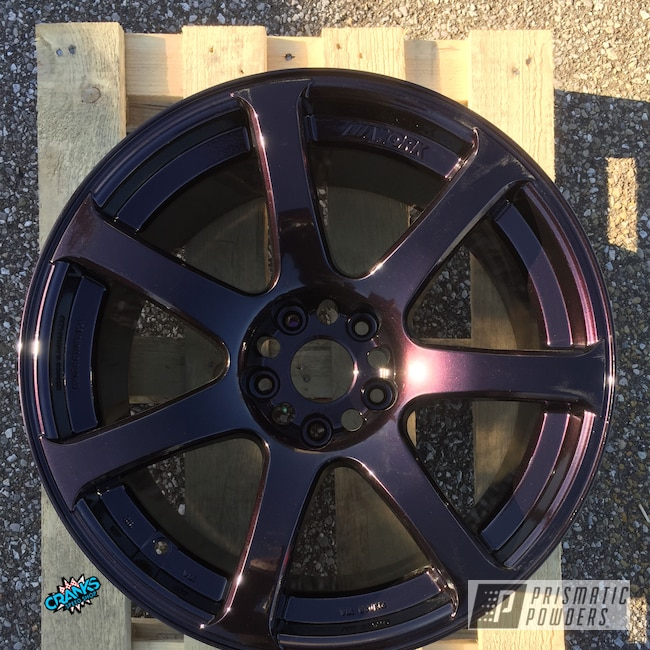 Powder Coating: Wheels,Automotive,Evo Wheels,Lazer Burgundy PMB-4155,Works,Custom Wheels,5x114