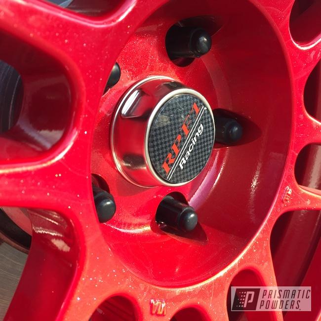 Powder Coating: Wheels,Enkei Rims,Automotive,Enkei Wheels,Heavy Silver PMS-0517,Custom Wheels,RPF1,Lollypop Red UPS-1506