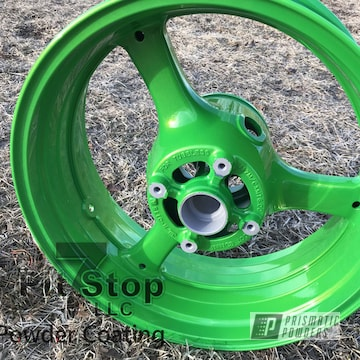 Motorcycle Rim In Candle Green And Shocker Yellow