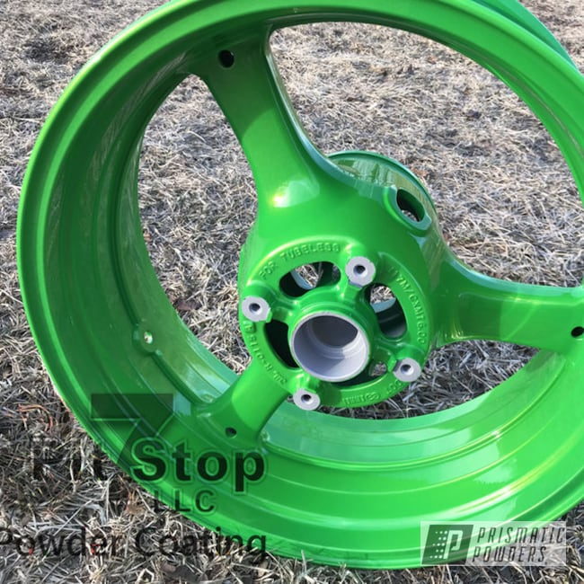 Powder Coating: Wheels,Candle Green PMB-4330,Two Coat Application,Motorcycles,Shocker Yellow PPS-4765