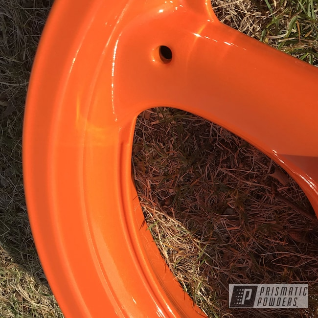 Powder Coating: Wheels,Motorcycles,Alien Silver PMS-2569,Striker Orange PPS-4750