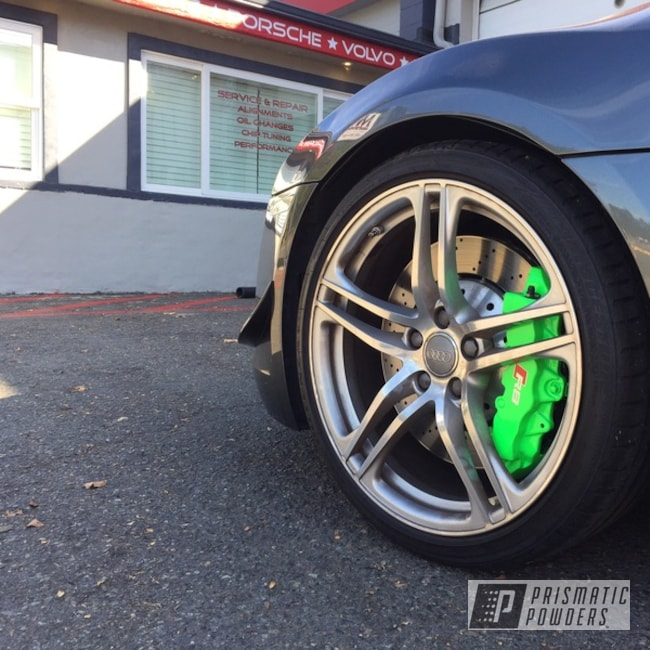 Powder Coating: Automotive,Clear Vision PPS-2974,BBK,Bright Green PSB-5945,Brembo,Brake,R8 Spider,Big Brakes,Brembo Brake Calipers,Audi R8,Custom Brake Calipers