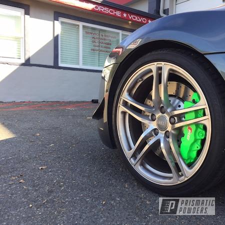 Powder Coating: Automotive,Clear Vision PPS-2974,BBK,Bright Green PSB-5945,Brembo,Brake,R8 Spider,Big Brakes,Brembo Brake Calipers,Audi R8,Custom Brake Calipers