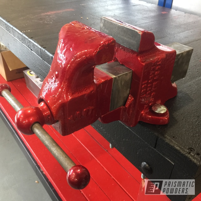 Powder Coating: candy red,Heavy Silver PMS-0517,Vice,Tools,Lollypop Red UPS-1506,Candy