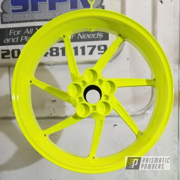 Motorcycle Rims And Accent Parts In Gloss White, Neon Yellow And Clear Vision