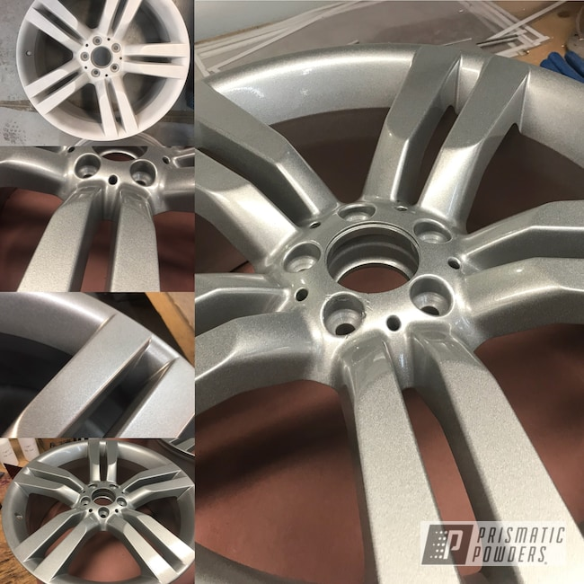 Powder Coating: Wheels,Automotive,Heavy Silver PMS-0517,Mercedes,Powder Coated Wheels