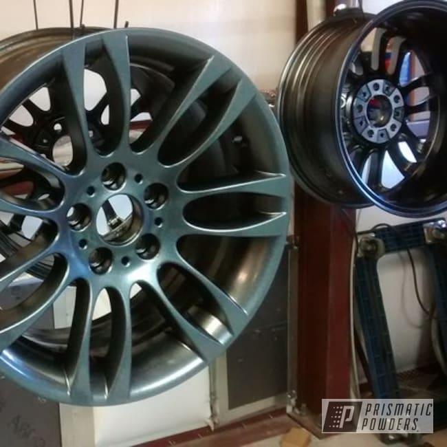 Powder Coating: Wheels,Automotive,Polar Sparkle PPB-5939,Ink Black PSS-0106