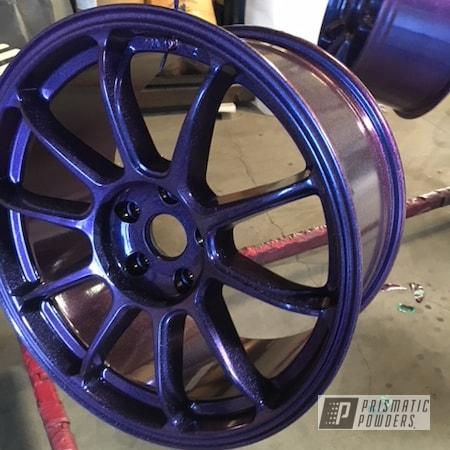 Powder Coating: Wheels,Automotive,Chameleon Violet Sapphire PPB-5730,Ink Black PSS-0106,Two Coat