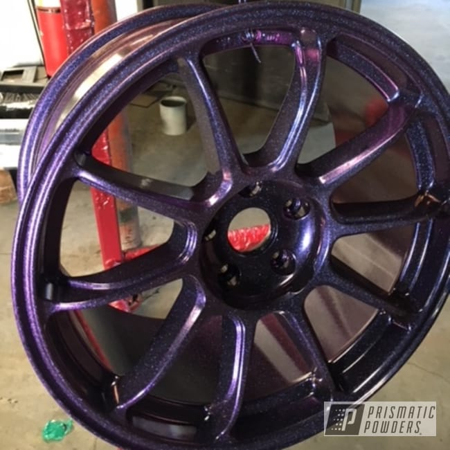 Powder Coating: Wheels,Automotive,Chameleon Violet Sapphire PPB-5730,Ink Black PSS-0106,Two Coat