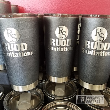 Customized Cups Done In A Textured Silver Splatter Powder Coat
