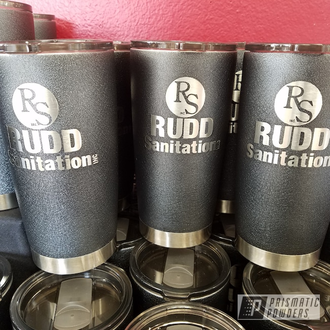 Powder Coating: Custom Cups,Tumbler,cups,Custom Drinkware,Textured Finish,Silver Splatter PWB-3044,Custom Tumbler Cups,Textured