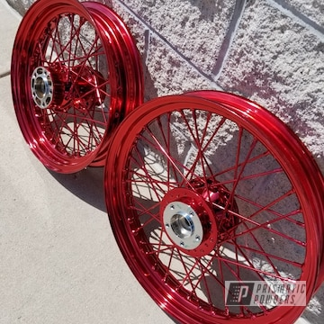 Brand New Chrome Wheels Perfect For A Lollypop Red Candy Topcoat