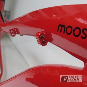 Bicycle Frame In Roadster Red, Ink Black And Clear Vision Powder Coat