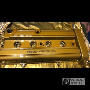 Honda Crv Valve Cover Done In A Brassy Gold Powder Coat